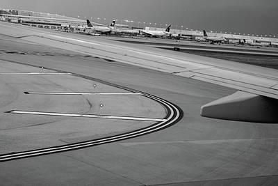 Airport Taxiway B W Art Print by Steve Gadomski