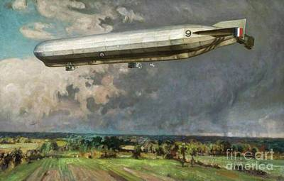 Trench Warfare Painting - Airship 9 by Alfred Egerton Cooper