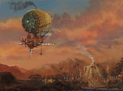 Painting - Airship Over Atlantis Steampunk Series by Tom Shropshire