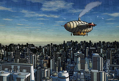Digital Art - Airship Over Future City by Ken Morris