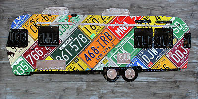 Airstream Camper Trailer Recycled Vintage Road Trip License Plate Art Art Print