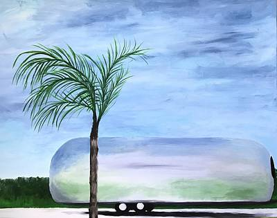 Painting - Airstream With Palm Tree by Amber Woodrum