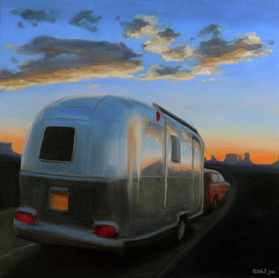 Airstream Painting - Airstreaming Into The Sunset by Elizabeth Jose