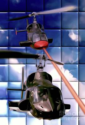 Helicopter Digital Art - Airwolf by Mary Bassett