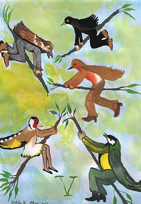 Half Bird Half Human Painting - Airy Five Of Wands With Bird People by Sushila Burgess