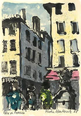 Painting - Aix En Provence Street Scene by Martin Stankewitz