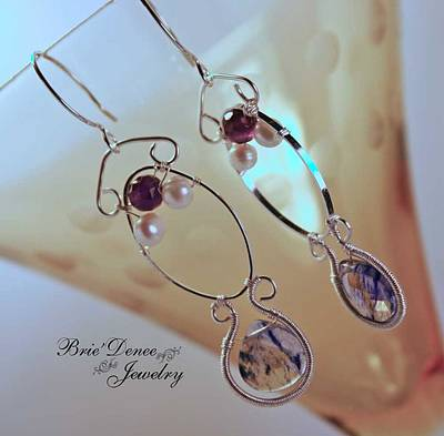 Aiyn Omega Amethyst Pearl And Blue Lace Quartz Earrings Original by Brittney Brownell