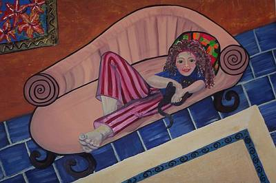 Girl Painting - Aj On The Couch by Joan Stratton