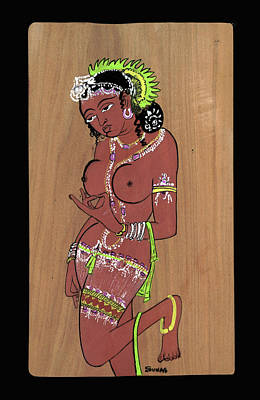 Art Print featuring the painting Ajanta Cave Beauty  by Suhas Tavkar