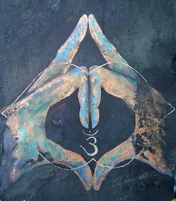 Ahimsa Painting - Ajna - Third Eye, Blue Hand, Chakra Mudra. by Silk Alchemy