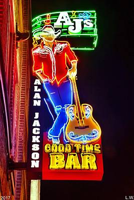 Nashville Sign Photograph - Aj's Good Time Bar by Lisa Wooten