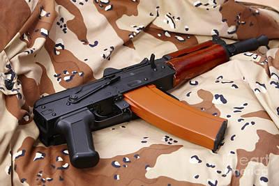 First Amendment Photograph - Ak-47u On Old Persian Gulf War Desert Battle Dress Uniform by Joe Fox