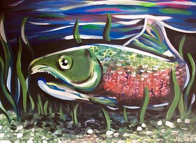 Salmon Painting - Ak Salmon by Lori Teich