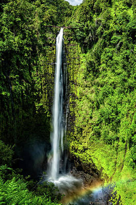 Akaka Falls With Rainbow Art Print