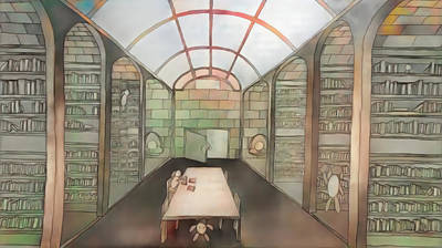 Drawing - Akashic Library by Andrew Herman