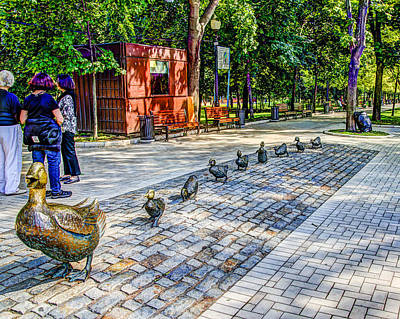 Make Way For Ducklings - Novodevichy Park - Moscow Russia Art Print by Jon Berghoff