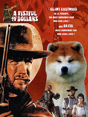 Painting - Akita - A Fistful Of Dollars  Movie Poster by Sandra Sij