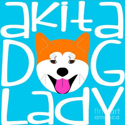 Akita Dog Lady Art Print