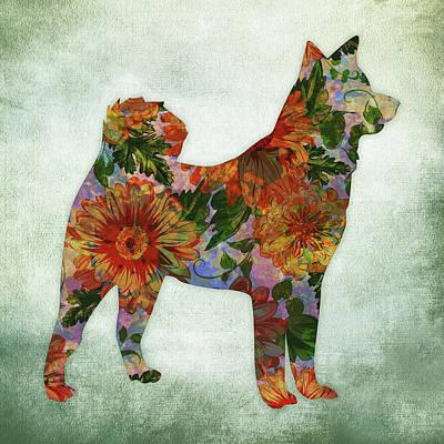 Watercolor Pet Portraits Digital Art - Akita Floral On Green by Flo Karp