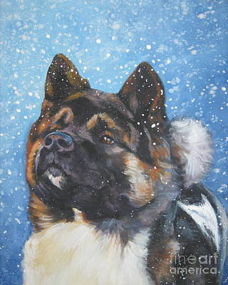 Painting - Akita In Snow by Lee Ann Shepard
