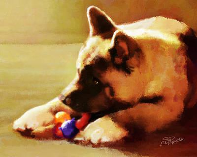 Painting - Akita Puppy by Suni Roveto