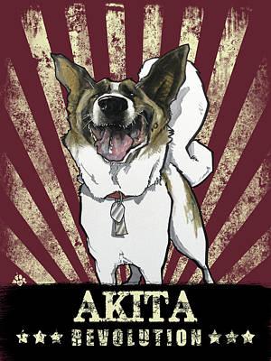 Drawing - Akita Revolution by John LaFree