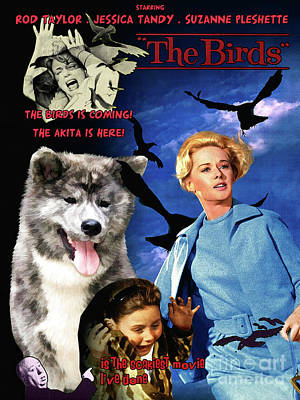Painting - Akita - The Birds Movie Poster by Sandra Sij
