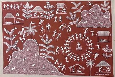 Indian Tribal Art Painting - Akk 06 by Ankush Kakuram Karmoda