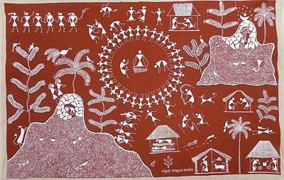Indian Tribal Art Painting - Akk 09 by Ankush Kakuram Karmoda