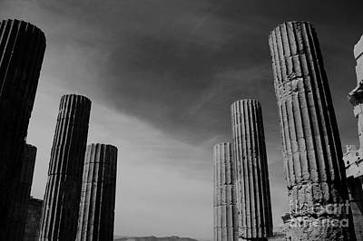 Akropolis Photograph - Akropolis Columns Black And White by Marina McLain