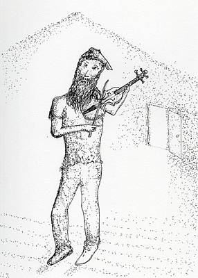Glass Art - Al And His Violin by Jim Taylor