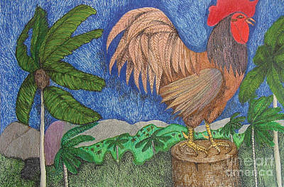 Indian Ink Mixed Media - Al Cantio Del Gallo The Sing Song Of The Rooster From The Charivary Series by Chary Castro-Marin