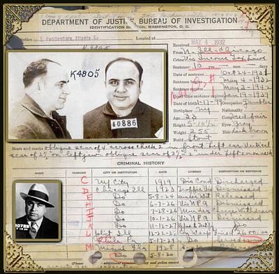Photograph - Al Capone Arrest Record 1932 by Carlos Diaz