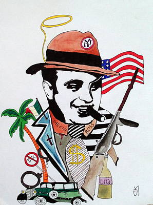 Caricatures Mixed Media - Al Capone by Deimante Kajataite