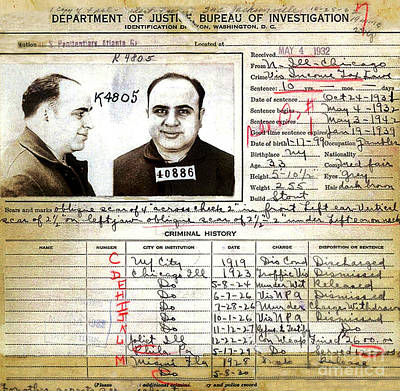 Photograph - Al Capone Federal Bureau Of Investigation Criminal History - Doc Braham - All Rights Reserved. by Doc Braham