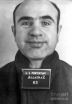 Terminal Photograph - Al Capone Mugshot At Alcatraz by Jon Neidert