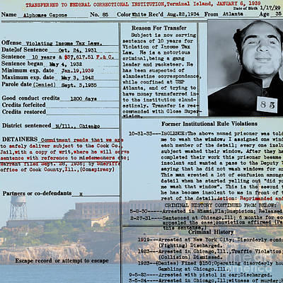 Al Capone Transfer Record Alcatraz Island To Terminal Island 20170518 Square V2 Art Print by Wingsdomain Art and Photography