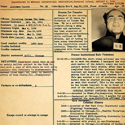 Alcatraz Photograph - Al Capone Transfer Record Alcatraz Island To Terminal Island 20170518 Square by Wingsdomain Art and Photography