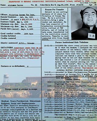 Alcatraz Photograph - Al Capone Transfer Record Alcatraz Island To Terminal Island 20170518 V2 by Wingsdomain Art and Photography