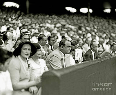 Al Capone Watches Baseball Print by Jon Neidert
