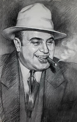 Charcoal Drawing - Al Capone  by Ylli Haruni