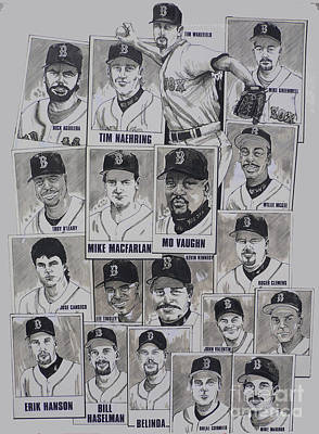 Red Sox Baseball Drawing - Al East Champions Red Sox Newspaper Poster by Dave Olsen