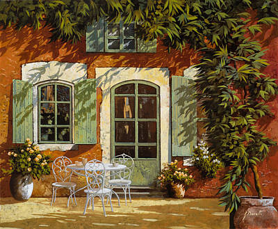 Curated Round Beach Towels - Al Fresco In Cortile by Guido Borelli