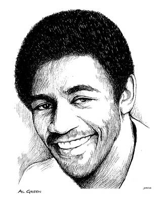 Music Drawing - Al Green by Greg Joens