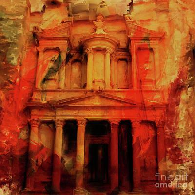 Jordan Painting -  Al Khazneh Petra Jordan 021 by Gull G