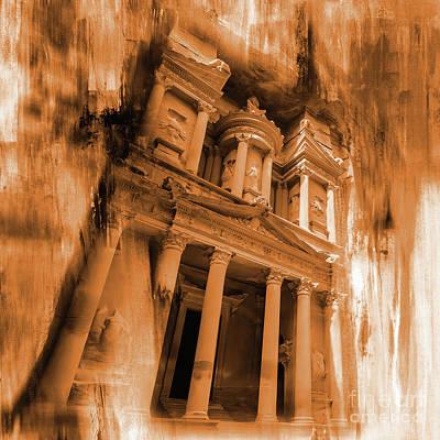 Jordan Painting -  Al Khazneh Petra Jordan by Gull G