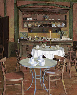 Cafe Wall Art - Painting - Al Lume Di Candela by Guido Borelli