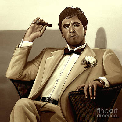 Michael Corleone Mixed Media - Al Pacino In Scarface by Meijering Manupix
