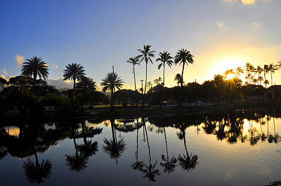 Photograph - Ala Wai Sunrise by Andrew Dinh