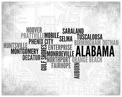 Modern Art Mobile Digital Art - Alabama 1 Word Art Typography by Melissa Smith